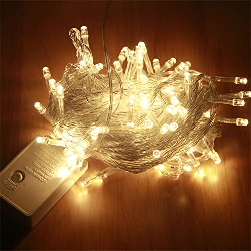 (Aibelly Fairy String Lights 33ft Waterproof 100 LEDs Sky Stars String Lamp for Home, Patio, Garden Gate, Yard, Wedding, Holiday, Party, Halloween, Christmas Decoration (Warm)