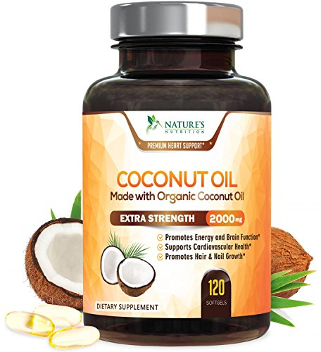 Coconut Oil Capsules Extra Virgin Organic MCT Oil 2000mg - Cold Pressed Coconut Oil Supplement for Best Hair, Skin, Heart, Digestion & Immune System Booster, Weight Loss Pills, Non-GMO - 120 Softgels