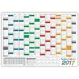 LYSCO Rainbow Wandkalender gefaltet / Wandplaner 2017 - DIN A2 Format (594 x 420 mm) mit 14 Monaten, kompletter Jahresvorschau 2018 und Ferientermine/Feiertage aller Bundesländer