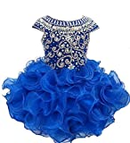 Weiai Toddler Girls' Ruffles Beaded Short Cupcake Pageant Dresses 3/3T US Royal Blue