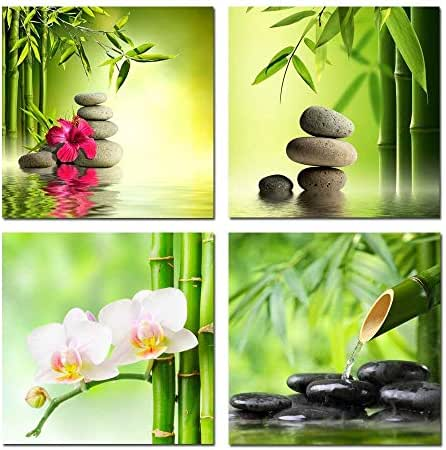 Kreative Arts Canvas Prints Relaxing Spa Energy Stones Bamboo Green in Garden with Flow Water Orchid Flowers Wall Art Modern Home Decor Giclee Printing Ready to Hang for Bathroom Decor 12x12inx4pcs