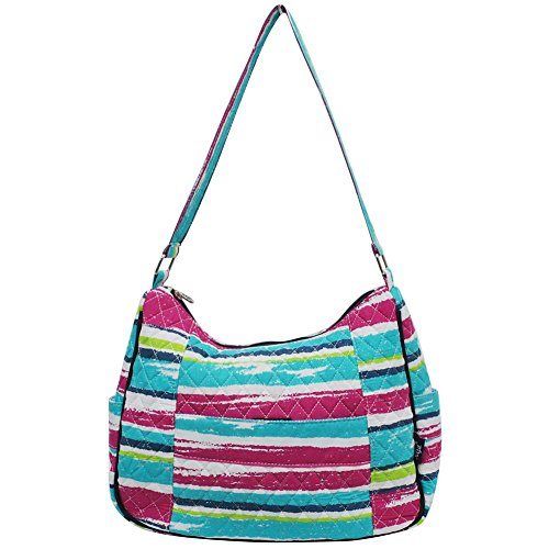 Ngil Quilted Cotton Hobo Shoulder Bag (Rainbow Stripe Navy)