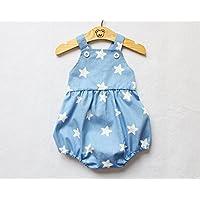 Blue Baby Boy Romper White Star Print Bubble Button Romper