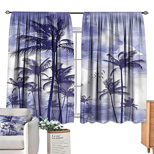 (WinfreyDecor Ocean Blackout Curtains Tropic Palm Tree Sunny Day for Living, Dining, Bedroom (Pair) 72