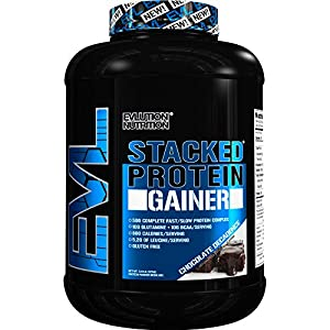 Evlution Nutrition Stacked Protein Gainer 7lb Protein Powder With 50 Grams of Protein, 10 Grams of BCAA's and 10 Grams of Glutamine (Chocolate Decadence)