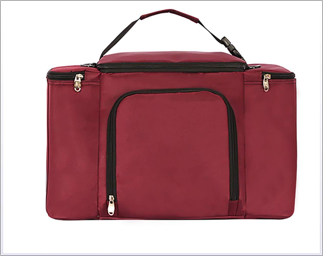 Borsa da picnic di grande capacità per auto, borsa da picnic, spessa e riutilizzabile, borsa da pranzo, lunch box, borsa da trasporto, borsa con cerniera, scuola, picnic da viaggio all'aperto,Red