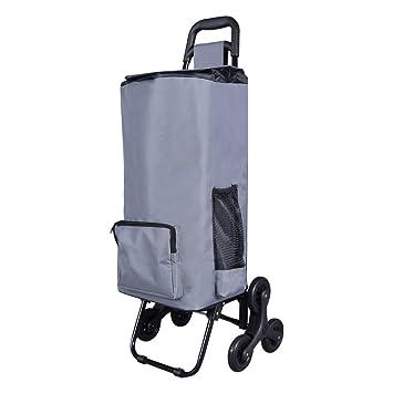 LOMOS Robusto carro de la compra plegable con función de subida de escaleras en gris, para jóvenes y mayores: Amazon.es: Hogar