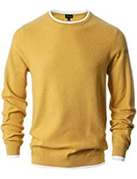 Men's Crew Neck Pullover Cotton Knitted Long Sleeve Casual Sweater