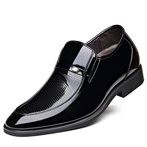 Chaussures Hommes 6cm Invisible Sharp Leather Dress Black phv2KU81