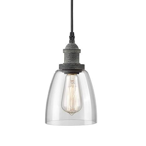 Rustic glass pendant lighting Multi Pendant Image Unavailable Amazoncom Claxy Rustic Mini Glass Pendant Light Clear Glass Kitchen Island