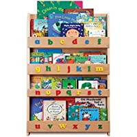 Tidy Books - The Original Kid's Bookshelf. Front Facing Book Display and Book Storage. Ideal Kid's Library. Wooden in Natural Finish with Playful Alphabet 30.3 x 2.8 x 45.3 inches
