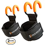 NEW Back Builders Weight Lifting Hooks - Non Slip Coating with Thick Neoprene Padding Designed for Heavy Deadlifts, Rows, Pulldowns, and Shrugs