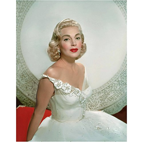 Lana Turner 8 inch x10 inch Photo Imitation of Life The postman Always Rings Twice Peyton Place White Off the Shoulder Dress White Round Background kn (Lana Turner Imitation Of Life White Dress)