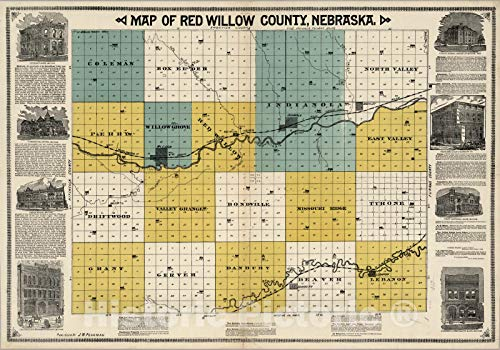 - Historic Map | A Map of Red Willow County, Nebraska, 1890 | Vintage Wall Art | 44in x 31in