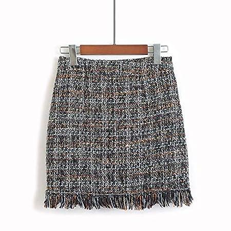 ZYSDHZ Falda A Cuadros Minifalda De Mujer Falda De Flecos Rectos ...