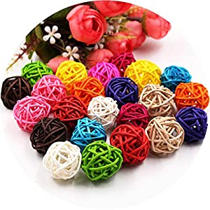 5/10Pcs 3cm Colorful Rattan Ball Artificial Flowers Ball Christmas New Year Party Decoration Children Gifts DIY Craft Supplies 76