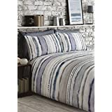 TIE DYED-STYLE GRADED STRIPES BLUE GREY WHITE COTTON BLEND CANADIAN QUEEN SIZE (COMFORTER COVER 230 X 220 - UK KING SIZE) (PLAIN SILVER GREY FITTED SHEET - 152 X 200CM + 25 - UK KING SIZE) PLAIN SILVER GREY HOUSEWIFE PILLOWCASES 6 PIECE BEDDING SET