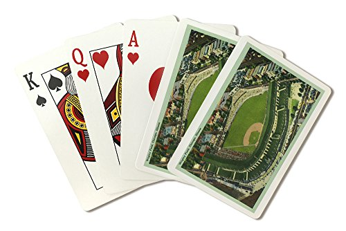 (Chicago, Illinois - Aerial View of Wrigley Field # 2 (Playing Card Deck - 52 Card Poker Size with Jokers))