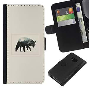 KLONGSHOP // Tirón de la caja Cartera de cuero con ranuras para tarjetas - Gray Wolf Mountain - HTC One M9 //