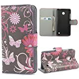 Yakamoz PU Leather Black Flower Butterfly Flip Wallet Card Slots Stand Case Cover for Nokia Lumia 520 with Free Screen Protector & Stylus Pen