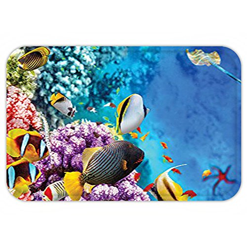 Stingray Animal Costume (VROSELV Custom Door MatOcean Decor Collection Clear Underwater Sea Animal World with Coraland Tropical Fisheand a Stingray Starfish Sea Print Blue Lilac Red)