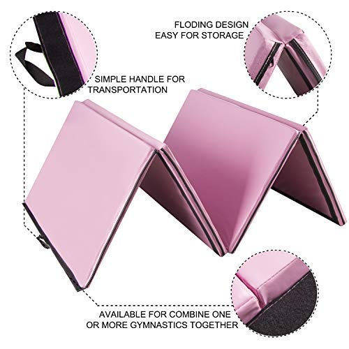 Easyzon Folding Gymnastics Mat Thick Exercise Tumbling 4 Panel Mat with Carrying Handle for Gym Fitness Exercise Aerobics, 4'x8'x2 (Pink)