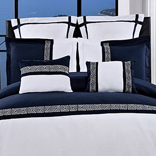 Duvet Cover Set and Pillowcases 7 Piece Luxury Soft Microfiber Bedding Contemporary Modern Embroidered Design - with Pillows - Hypoallergenic Lightweight - Full Queen Size 90x92 - Navy Blue/White ()