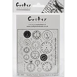 Crafty Individuals Unmounted Rubber Stamp 4.75\'\'X7\'\' Pkg-Tick Tock Clock Faces