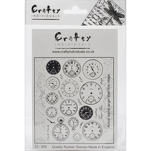 (Crafty Individuals Unmounted Rubber Stamp, 4.75 by 7-Inch, Tick Tock Clock Faces)