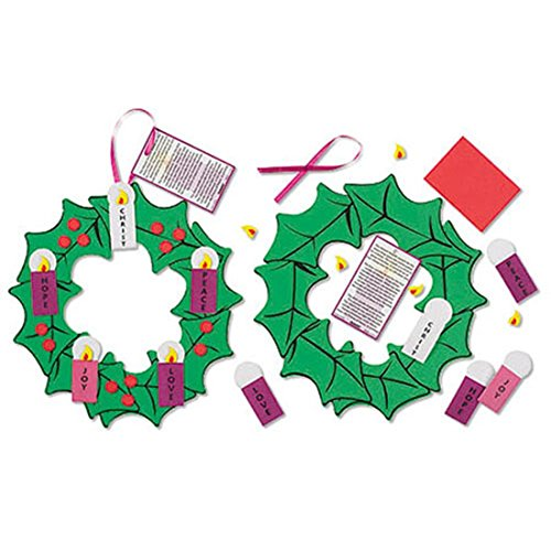 Pack of 24 Nativity of Christ Hanging Decoration Foam Ribbon Advent Wreath Arts & Craft Kit -
