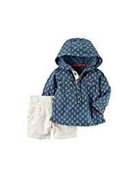 Carter's Baby Boys' 2-Piece Hooded Shirt And Canvas Shorts Set