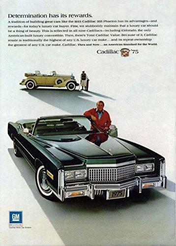 "1975 CADILLAC FLEETWOOD ELDORADO Convertible with 1933 Cadillac 355 Phaeton ""Determination..."" LARGE VINTAGE COLOR AD - USA - GREAT !!"