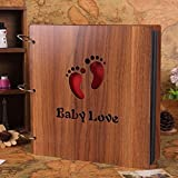 Large DIY Photo Album Wood Cover Baby Photo Book for Toddlers Saving The Photos of Growth, with Funny Description Anniversary Scrapbook 12 X 12 inches(Baby Love)