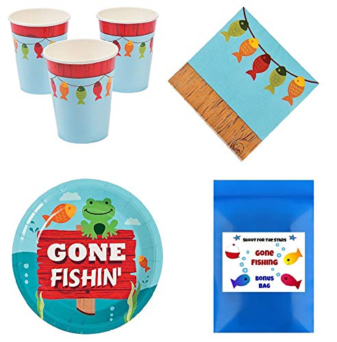 Little Fisherman Fishing Theme Tableware Pack Kid's Birthday Party Supplies Set for 16 -