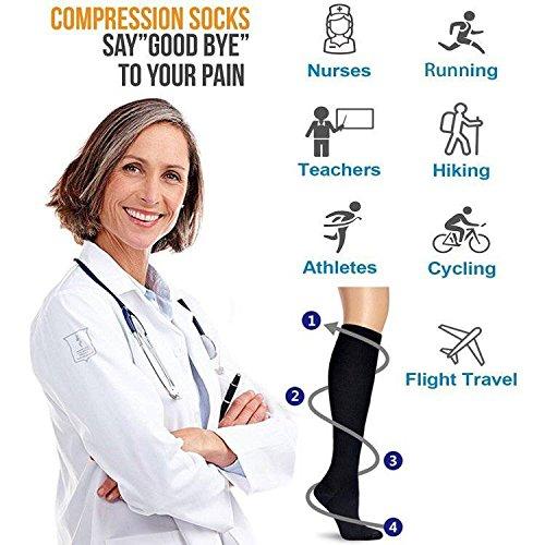 4 Pairs Compression Socks For Women and Men -- Best Medical, Nursing, Athletic, Edema, Diabetic,Varicose Veins , Maternity, Travel, Flight Socks - Running, Fitness -15-20mmHg. (L/XL, Black)