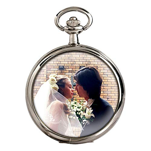 Outside Photo Quartz Pocket Watch with Cool Chain for Men Women