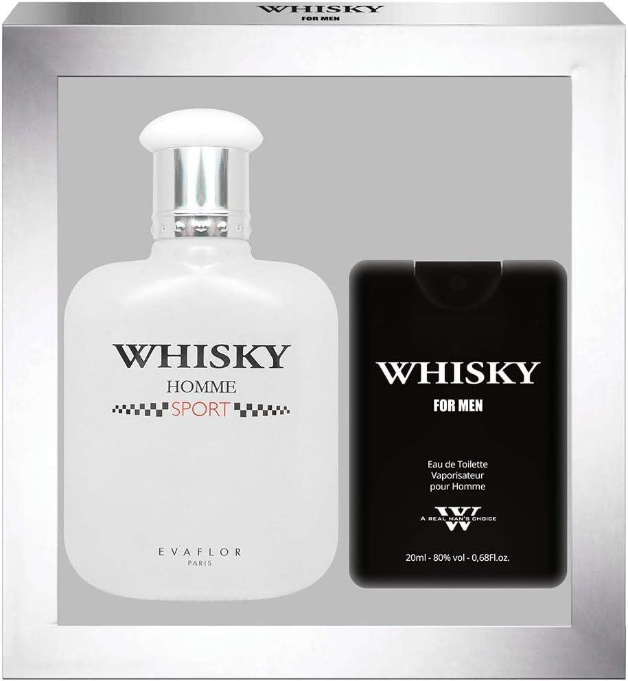 EVAFLORPARIS Whisky Sport - Estuche de regalo de Eau de Toilette 100 ml + perfume de viaje vaporizador para hombre 20 ml: Amazon.es: Belleza