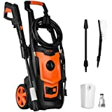 POTEK 1800PSI 1.4 GPM 13-AMP Electric Pressure Washer with Accessories Spray Nozzle Gun,Spray Brush and Detergent Nozzle