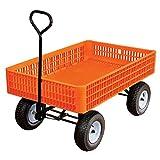 A.M. Leonard Orange Utility Wagon with Flat-Free Tires - 30 x 46 x 7.5 Inch Tray