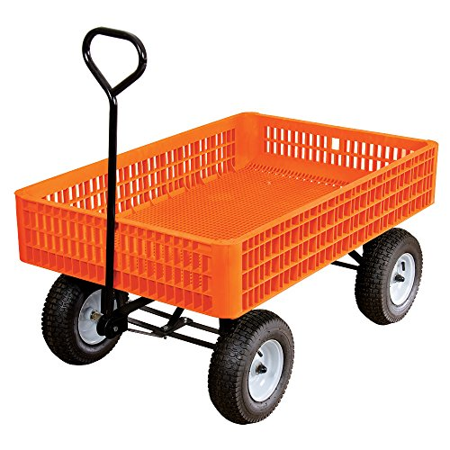 A.M. Leonard Orange Utility Wagon with Flat-Free Tires - 30 x 46 x 7.5 Inch Tray by A.M. Leonard