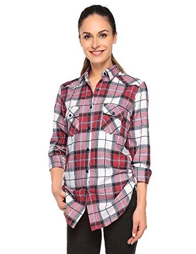Match Women's Long Sleeve Button Down Collar Flannel Shirt #B003(Medium, Checks#4)