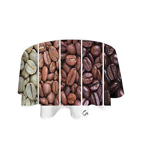 Coffee Easy Care Leakproof and Durable Tablecloth Vertical Banner Stages of Beans from Raw to Roasted Java Processing Addictive Outdoor Picnic D67 Inch Ivory Brown White