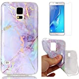 For Samsung Galaxy S5 Marble Case Purple,OYIME Unique Luxury Glitter Colorful Plating Pattern Skin Design Clear Silicone Rubber Slim Fit Ultra Thin Protective Back Cover Glossy Soft Gel TPU Shell Shockproof Drop Protection Protective Transparent Bumper and Screen Protector