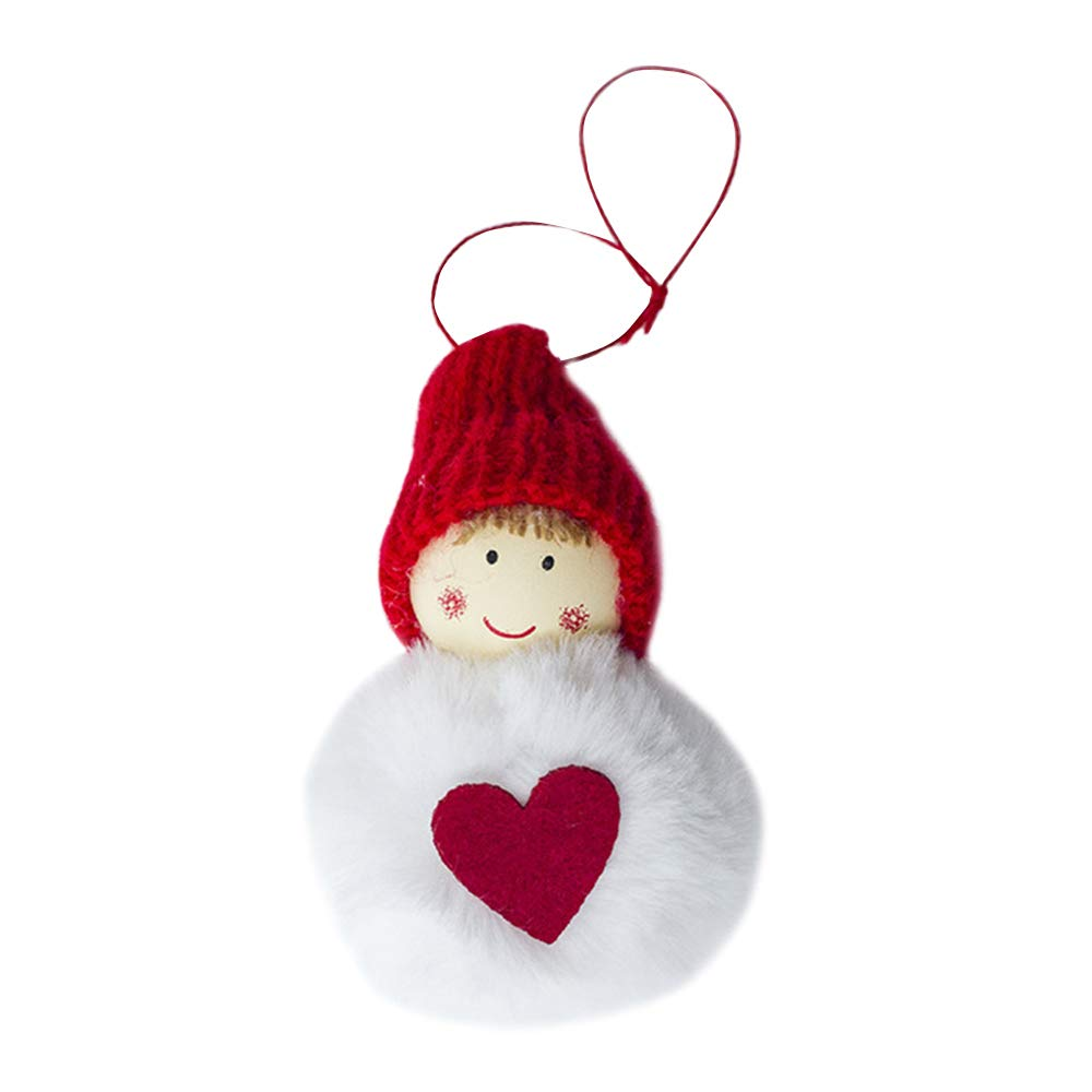 GUOYIHUA Tree Toppers,Tree Decorations Pendants,Round Bottom Red Mini Reindeer Snowman Hanging Doll Pendant Ornaments