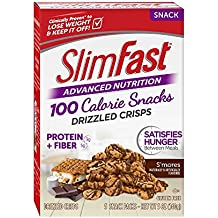Slim Fast Advanced Nutrition 100 Calorie Snacks, Drizzled Crisps, S'mores, 5 Count