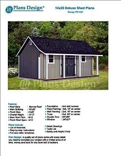 14u0027 x 20u0027 Storage Shed with Porch Plans for Backyard Garden - Design #  sc 1 st  Amazon.com & 10u0027 x 20u0027 Deluxe Back Yard Storage Shed Project Plans / Do it ...