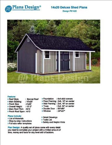 14' x 20' Storage Shed with Porch Plans for Backyard Garden - Design (Plans Yard)