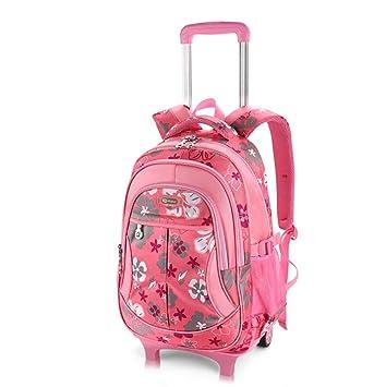 HIMFL Desmontable Mochila Trolley Mochila con Ruedas para niños y niñas Grado Recomendado: 1~6,Pink: Amazon.es: Deportes y aire libre