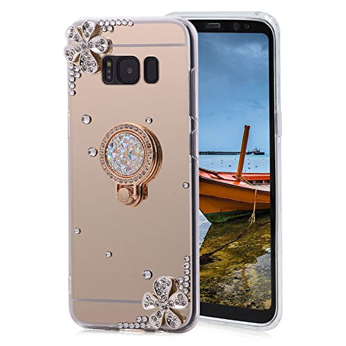 Price comparison product image Areall for Samsung Galaxy S7 Edge Case Silicone Mirror, [with Ring Stand Holder] Glitter Luxury Crystal Rhinestone Flower Floral Soft Slim Flexible Rubber Shockproof Makeup Back Cover Bumper - Gold