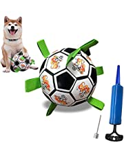 Dog Toys Soccer Ball, Interactive Dog Ball Toy with Grab Tags Indoor-Outdoor Training Dog Ball,Teething Toys Ball for Puppies, with Pump and Needle Durable for Small & Medium Dogs